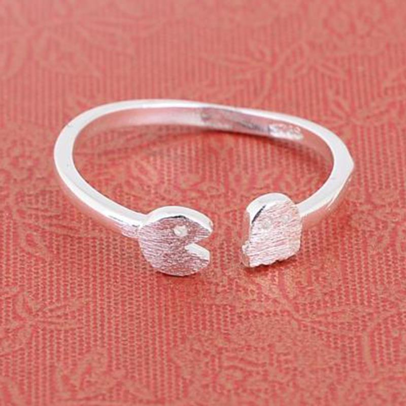 new design cute silver plated pacman open ring party creative pac man game rings for