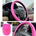 Розовый Мягкий Кожаный Натуральный Крышка Рулевого Колеса Автомобиля Силикона Оболочки Кожи Non-slip Fit для VW Focus Cruze Автомобиля укладки Соучастником