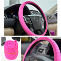 Pink Soft Leather Natural Silicone Car Steering Wheel Cover Shell Skin Non-slip Fit for VW Focus Cruze Car Styling Accessary