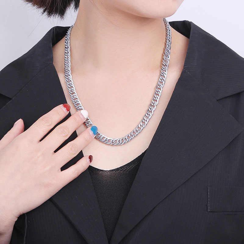 ヒップホップ男性の女性高品質シルバー色の鎖骨のチェーンステートメントネックレス恋人カップルジュエリー Accesory 卸売