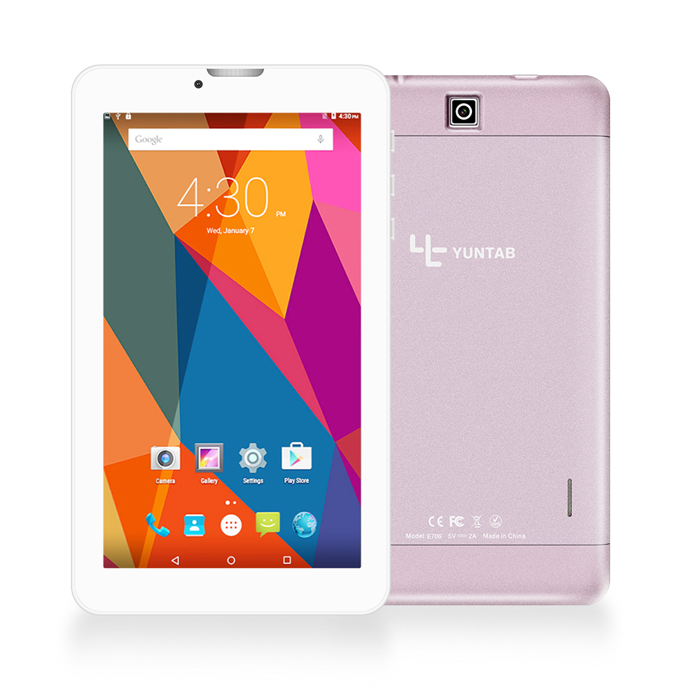 Tablet PC Yuntab 7 inch Alloy E706 Android 5.1 Quad Core 1G + 8G dengan ukuran normal Kartu SIM Ponsel Dual Camera rose gold