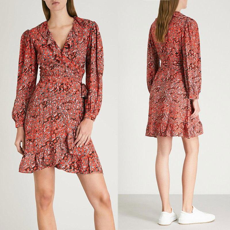 Women Dress 2019 Autumn and Winter New Leopard Print Ruffled Dress