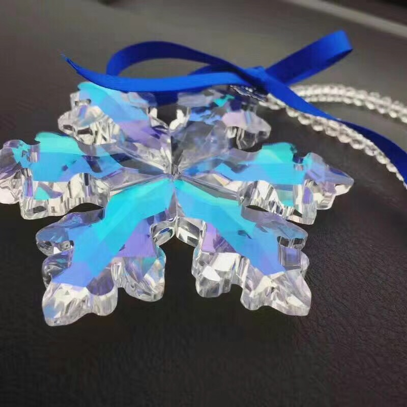 80mm 5pcs AB Crystal Snowflake Chandelier Hanging Drops Crystal Christmas Ornaments For Home Decoration Or Car