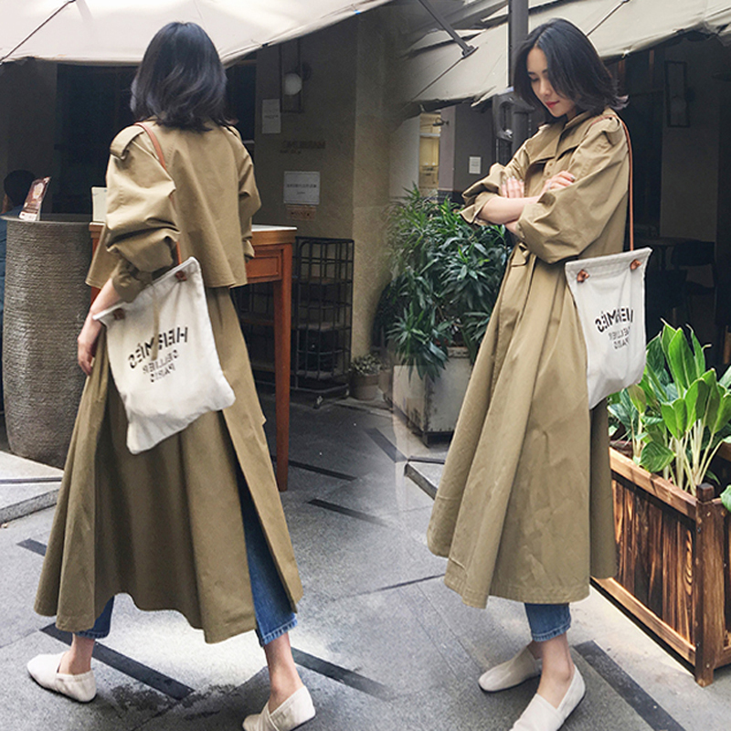 over knee long Skirt windbreaker female 2018 spring autumn chic Korean version   Trench   coat long-sleeved women outwears