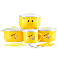 Best Selling Children Tableware Set Tableware Bowl Baby Food Supplement Baby Holding Bowl Spoon Training Stainless