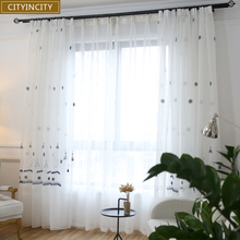 CITYINCITY Christmas Tower Snow Curtain For Living room Embroidered 3d Curtains bedroom European sheer Voile Customized