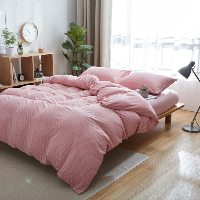 Jersey Cotton Pink Duvet Covers Set Queen King 4Pcs Knitted Bed Linens