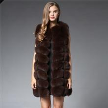 Thick Natural Fox Fur Vest 90cm Long Winter Warm Real Fur Vest Woman Genuine Fox Fur Coat Long Jacket Female Fur Vest Size M-2XL