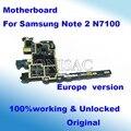 Bien trabajado para n7100 samsung galaxy note 2 motherboard mainboard de la placa lógica motherboard 100% original versión de la ue y desbloqueado