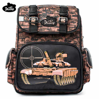 Delune High Quality Grade 1-4 Kids Orthopedic Schoolbag Cartoon Tank Pattern School Bags for Boys Backpack Mochila Escolar Gifts - Category 🛒 Luggage & Bags