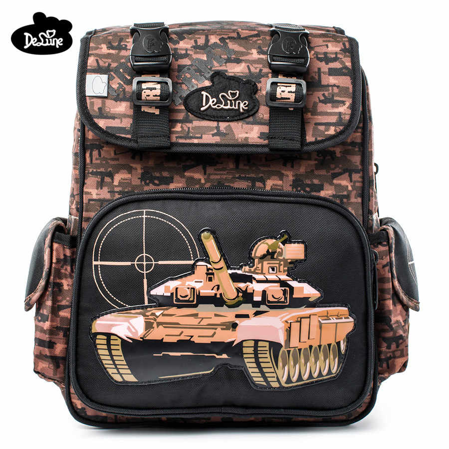 0ee547dec6 Delune High Quality Grade 1-4 Kids Orthopedic Schoolbag Cartoon Tank  Pattern School Bags for