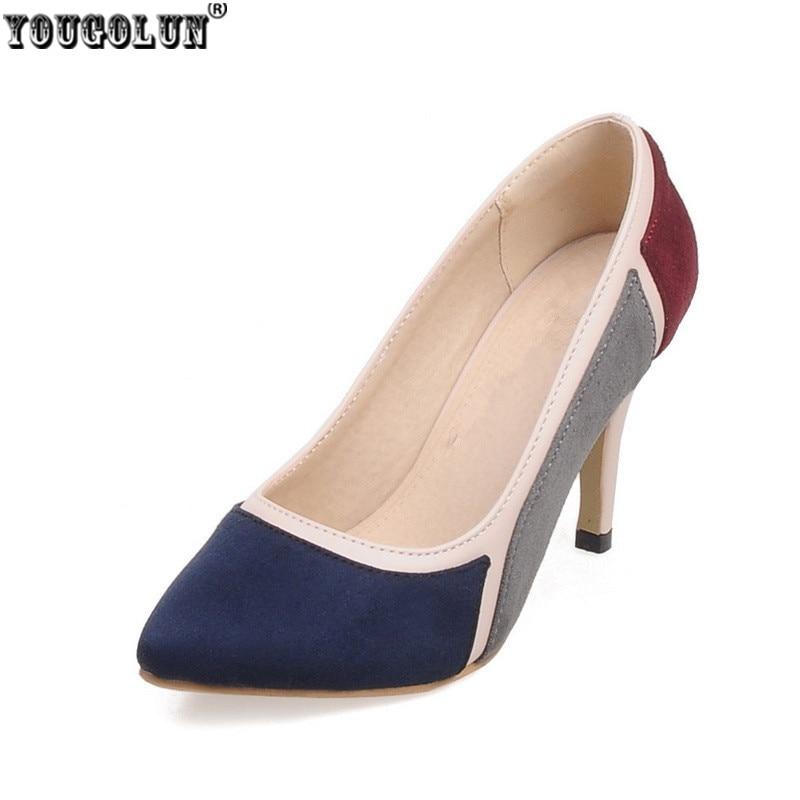 YOUGOLUN mix color pointed toe Thin High heels pumps woman shoes summer autumn wedding Female elegant women's causel work Pumps укроп cykoria сушеный