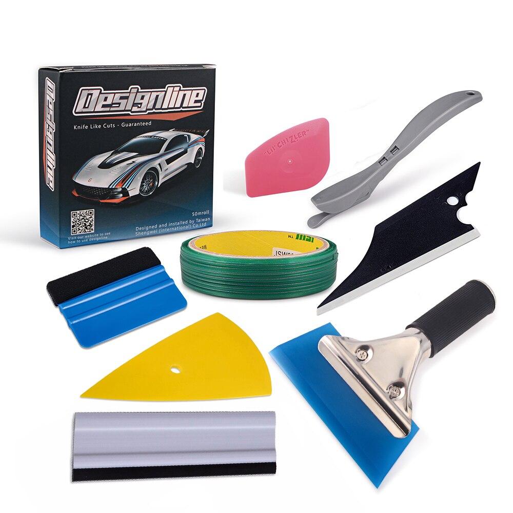 FOSHIO 50 m Voiture Autocollants Knifeless Bande Vinyle Wrap Tool Set Accessoires De Voiture En Fiber De Carbone Film Cutter Couteau Fenêtre Teinte raclette