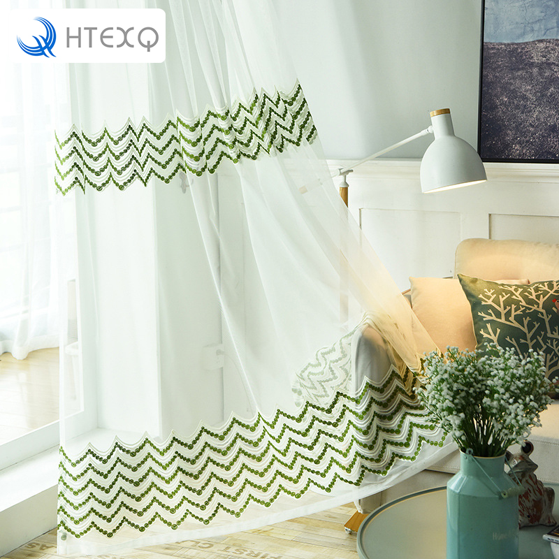 US $15.08 42% OFF|HTEXQ Waves Geometric Modern Window Sheer Curtain Panels  for Living Room the Bedroom Kitchen Blinds Window Treatments Draperie-in ...