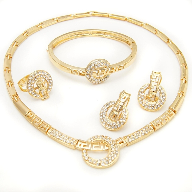Indian New Designs Bridal Jewellery Set Golden Plated Jewellery Set