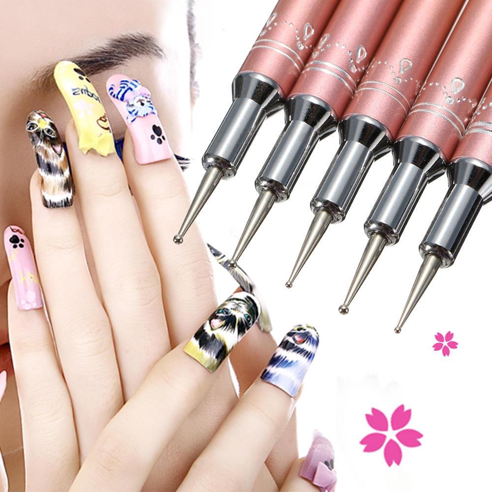 US $3.58 25% OFF 5pcs/set Metal 2 Ways Dotting Tool Nail Art Pen Colorful  Rhinestone Nail Decoration Painting Brush Nails Design Tools kit-in Dotting  ...