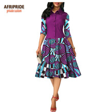 2019 summer african pleated dress for women AFRIPRIDE half sleeve single breasted knee-length casual cotton A1825054