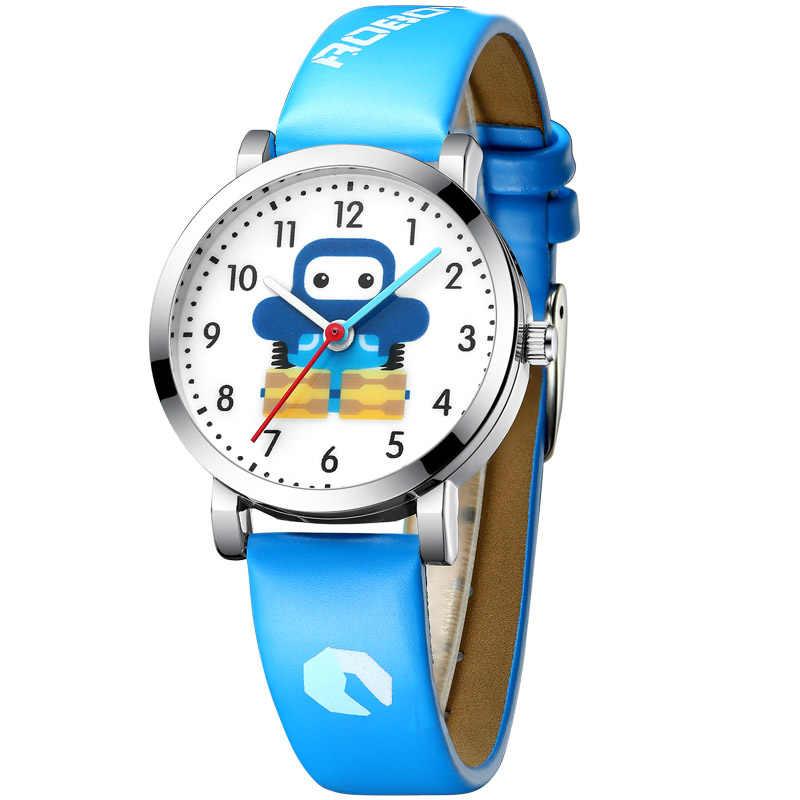 KDM יוקרה ילדה שעון ילד שעונים עמיד למים אמיתי עור ילד ילדים מצוירים שעונים חמוד תלמיד שעון יום הולדת מתנה