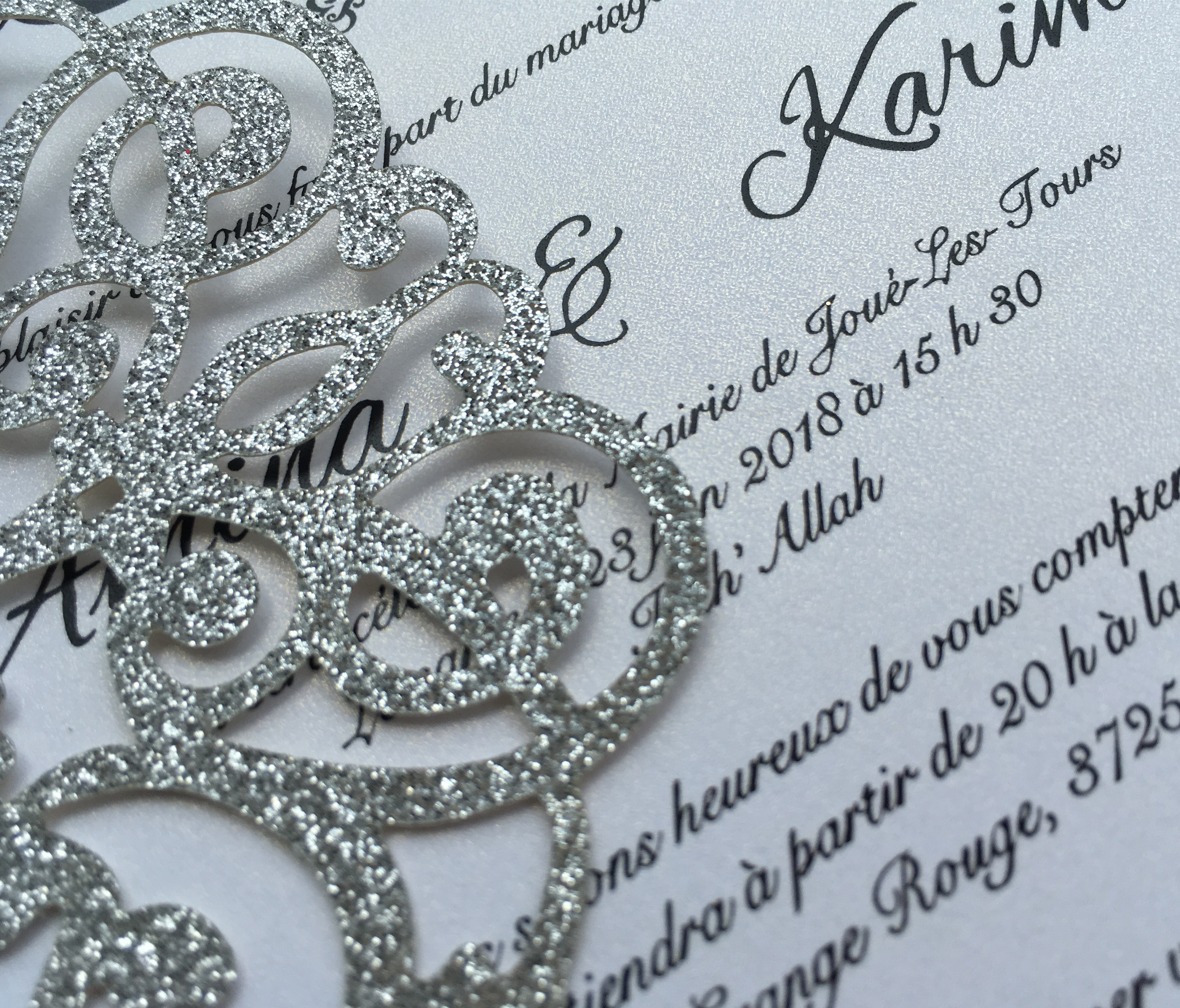 Laser Cut Glitter Silver Wedding Party Invitations, Customized Marriage Engagement Invitation Cards, 50PCS, Express Shipping-in Cards & Invitations from Home & Garden    3