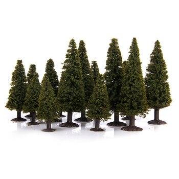 15 Uds 1/100 1/150 1/200 paisaje verde modelo cedro árboles Diorama miniaturas regalo