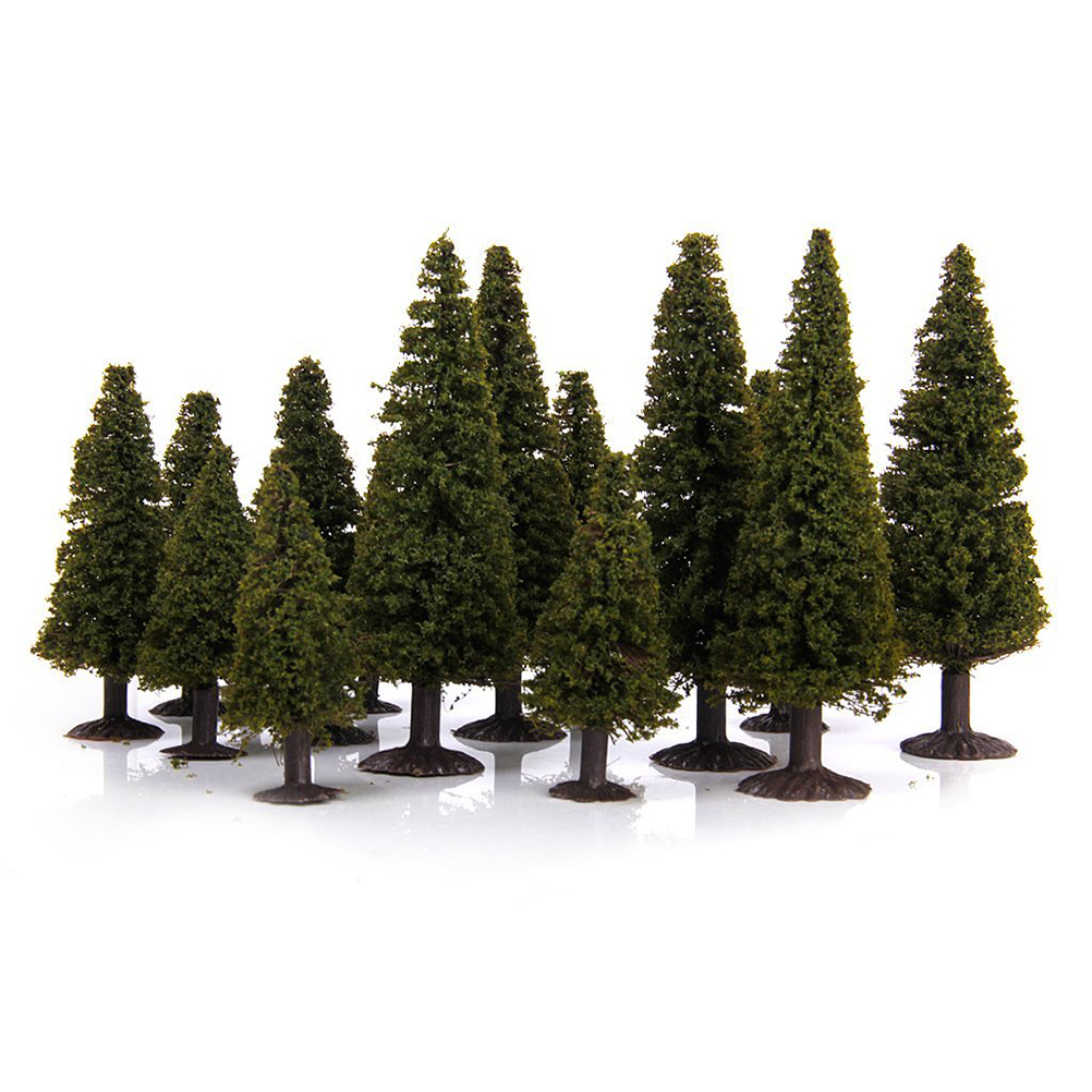 15pcs 1/100 1/150 1/200 Green Scenery Landscape Model Cedar Trees Diorama Miniatures Gift