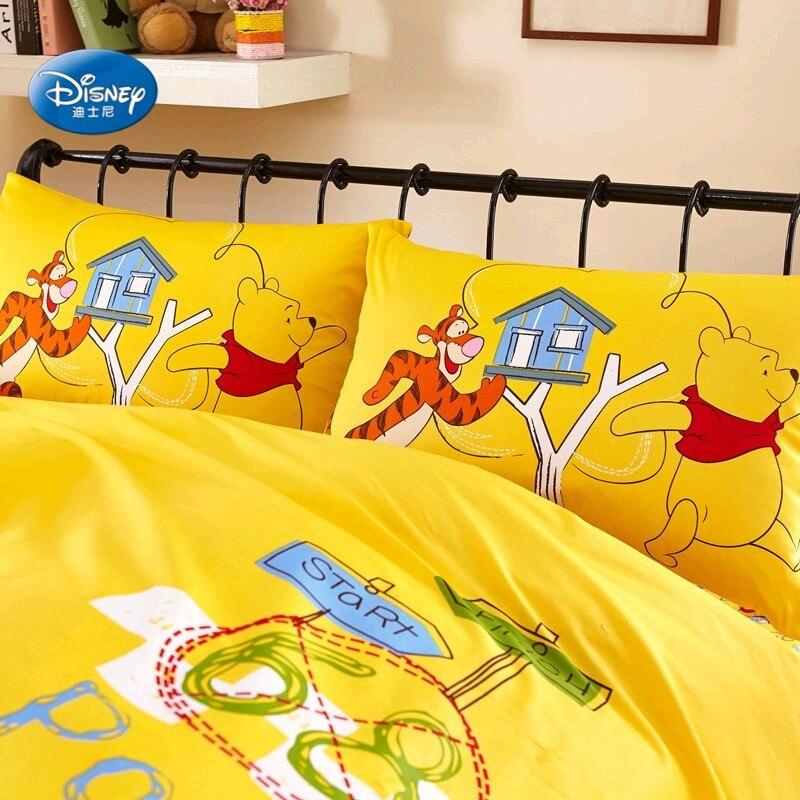 Disney A Buon Mercato Winnie e Tiger 100% Cotone Giallo Copripiumino Set Flatsheet Federe Biancheria Da Letto per I Bambini I Bambini 1.2 m 1.5 m Letto-in Completi letto da Casa e giardino su  Gruppo 3