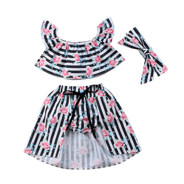e8953aa54ce3 Fashion Newest Striped Floral Baby Clothing Set Kids Off Shoulder T-shirt  Tops Maxi Skirt Headband 3pcs Outfits Girl Clothes