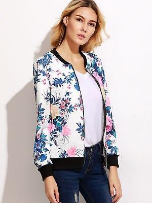 New Fashion Ladies Women Long Sleeve Zipper Coat Jacket Coat Casual Outerwear Print Clothes