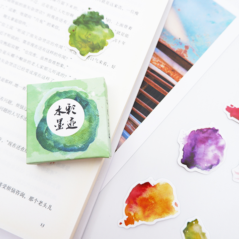 Купить с кэшбэком 40pcs/lot Watercolor ink Paper sticker DIY decoration sealed envelope Scrapbooking Sticker Stationery kawaii label stickers