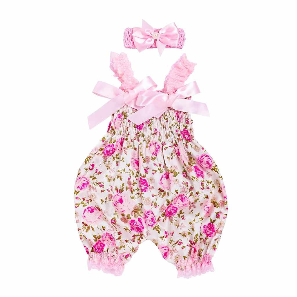 Kleinkind Baby Jungen Mädchen Floral Body Overall + Stirnband Set Outfit Locely Dropshipping Vestito pro bambini baby kostüm