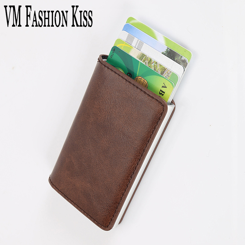 VM FASHION KISS RFID Against Theft Brush Security Single Aluminum Box Wallet Credit Card & Id Holders Case Holder Thin Purse