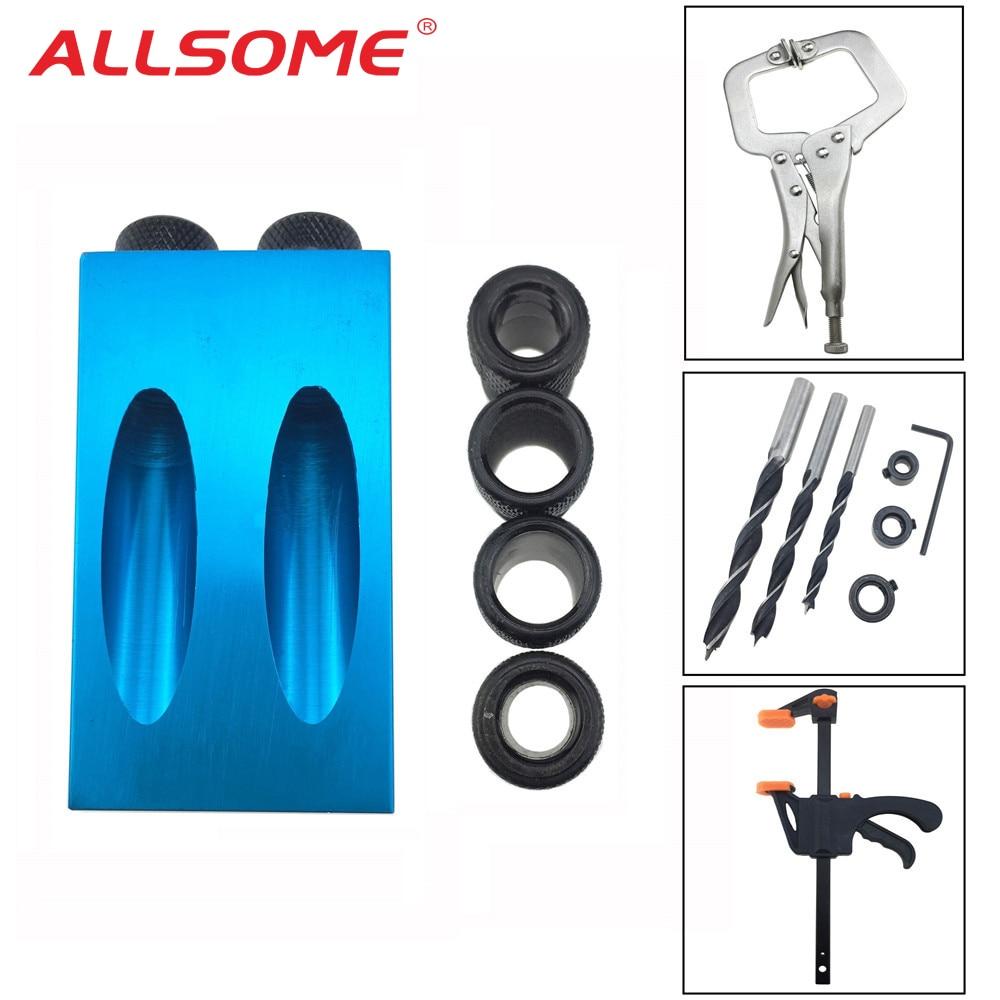 ALLSOME Pocket Hole Jig Kit System Mini Wood Jig Step Drill Bit 6/8/10mm Set For DIY WoodWorking Tools HT2258-2262