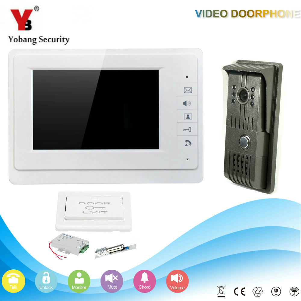 YobangSecurity 7 Inch Video Door Phone Doorbell Home Security Camera Monitor Intercom System Door Intercom Entry With Door Lock