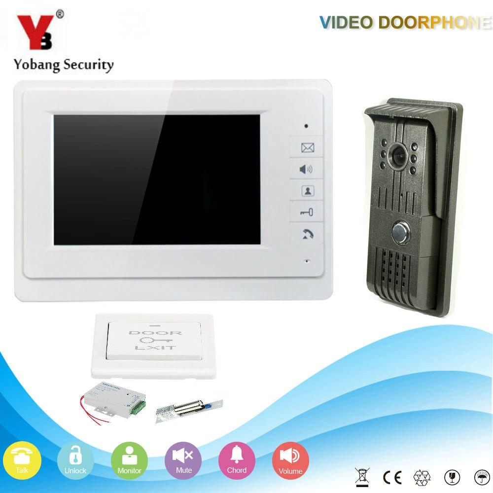 YobangSecurity 7 Inch Video Door Phone Doorbell Home Security Camera Monitor Intercom System Door Intercom Entry With Door Lock