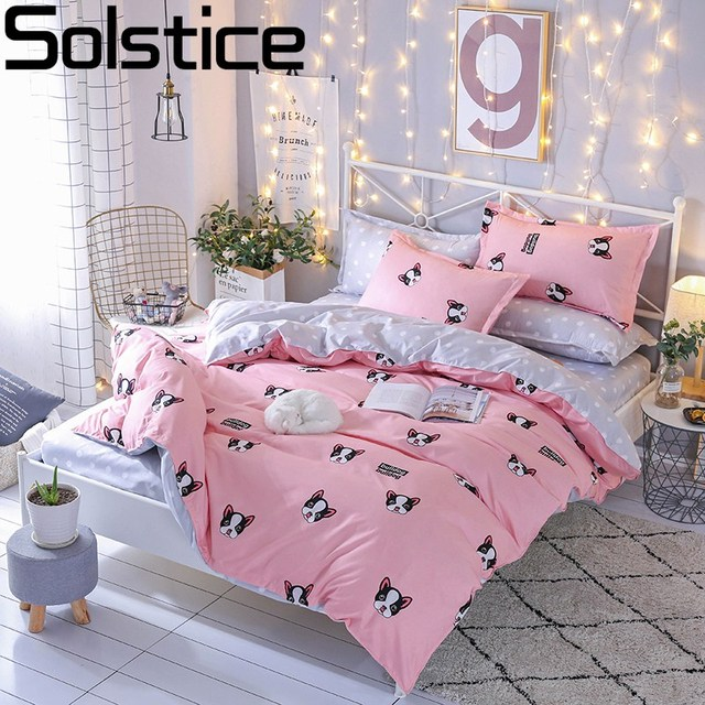 3c8bdf7521 Solstice Cartoon Pet Dog Style Bedroom 4pcs Bedding Sets Bed Sheet Duvet  Cover Pillowcase Bedclothes Twin Full Queen King
