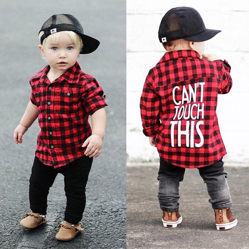 Toddler Kids Baby Boys Printed Plaid Tops Shirt Blouses ...