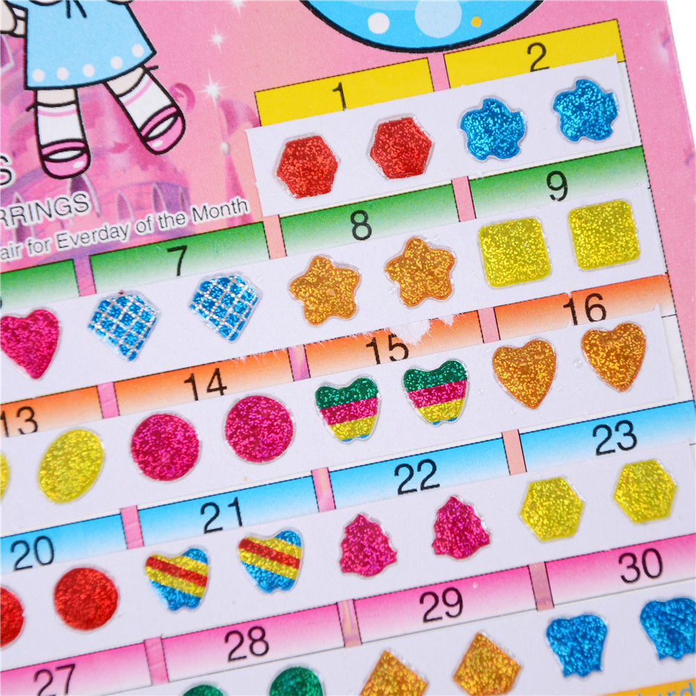 1 Sheet =60PCS Cute Wonderful Kids Stickers DIY Earring Cartoon Reward Crystal Sticker Toys For Children Adesivos