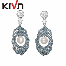 KIVN Fashion Jewelry Feather Dangle CZ Cubic Zirconia Womens Wedding Bridal Simulated Pearl Earrings Mothers Day Birthday Gifts