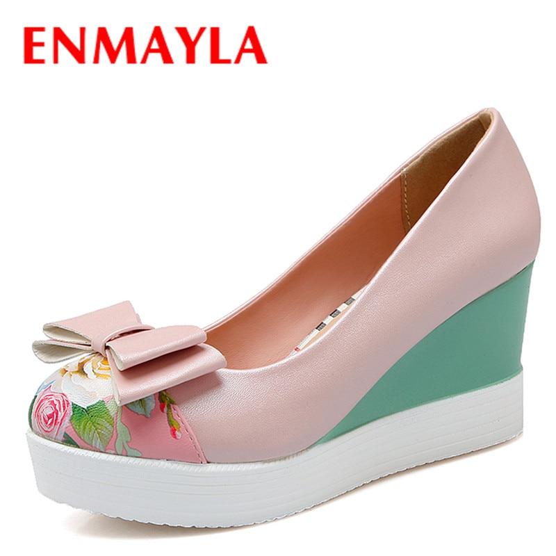 ФОТО ENMAYLA Mixed Color Print Flower Wedges Platform High Heels Pumps Shoes Women Sweet Bowtie Ladies Shoes Pink White Shoes Woman
