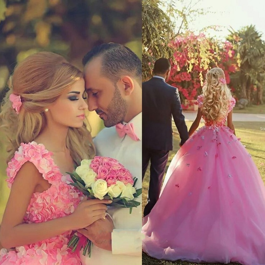 Long Pink Evening Dresses Ball Gown Party Tulle Flowers Prom Formal Evening Gowns Dresses robe de soiree longue