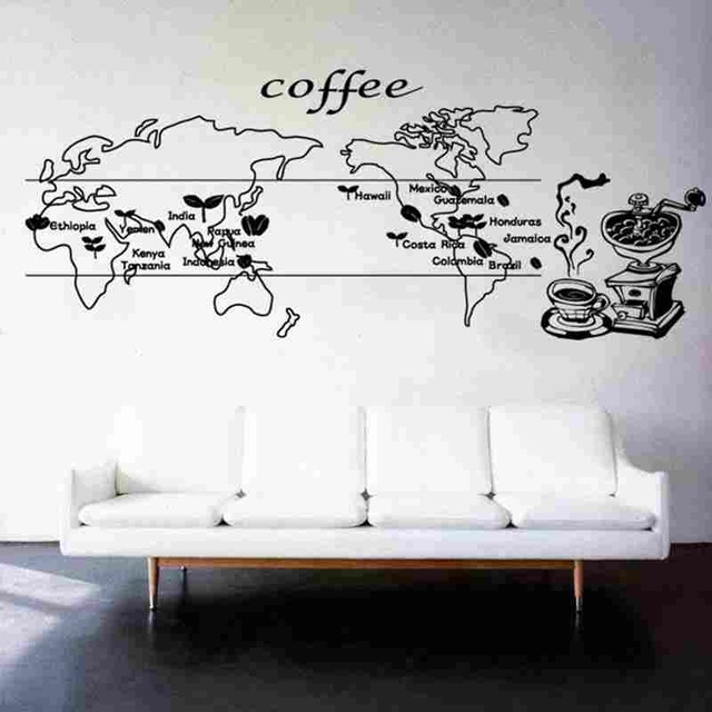 New arrival coffee world map sticker food decal cafe poster vinyl art wall decals home decor Home decor line wall stickers