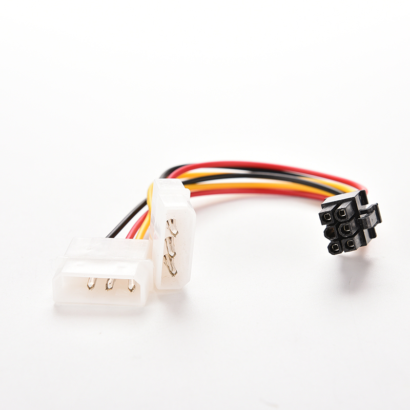 2 IDE Dual 4pin Molex IDE Male To 6 Pin Female PCI-E Y Molex IDE Power Cable Adapter Connector For Video Cards
