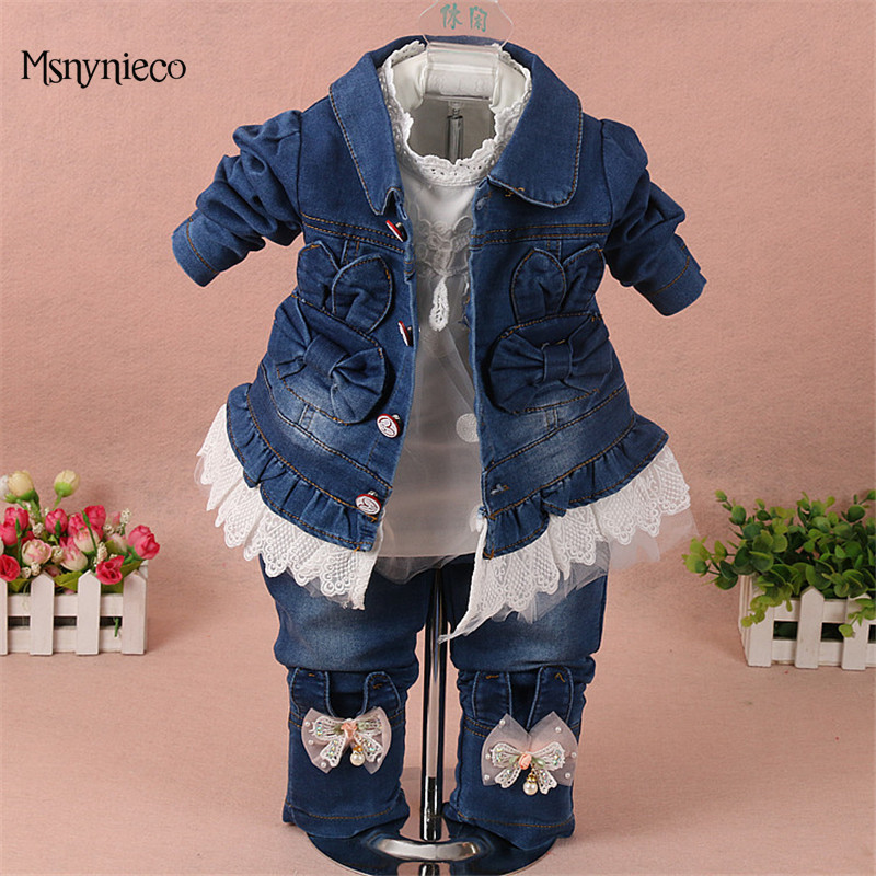Baby Girl Clothes Sets 2018 Brand Fashion Girls Denim Jacket+T-shirt+Jeans Kids 3pcs Suit Infant Toddler Baby Clothing baby fashion clothing kids girls cowboy suit children girls sports denimclothes letter denim jacket t shirt pants 3pcs set 4 13