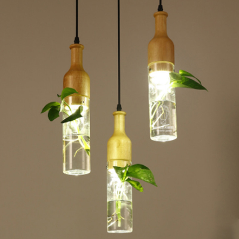 Vintage Pendant Lights Plant style American Country E27 socket woodiness lamp holder indoor Decoration Hanging light fixture