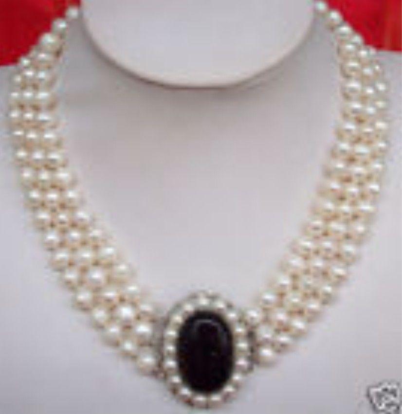 3row 7-8 MM D'eau Douce Perles fermoir NecklacesNoble style Naturel Fine jewe EXPÉDITION rapide