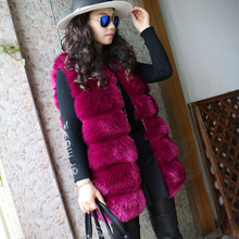 MUMUZI 2017 High quality faux fur waistcoat warm fashion jacket winter tank tops fox fur vest sleeveless coat