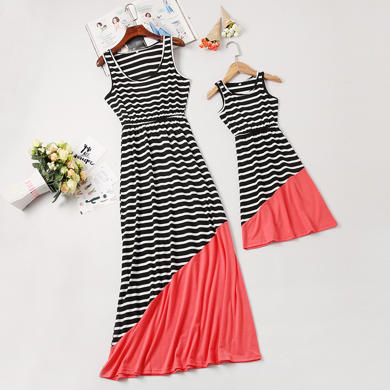 Sleeveless Striped Mother Daughter Dresses Family Look Mommy And Me Clothes Mom Mum Baby Dress Women And Girls Matching Outfits