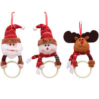 Lovely Christmas Decoration Towel Hanging Ring Santa Elk Snowman Round Ring Toilet Circular Towel Ring For Xmas Home Decor