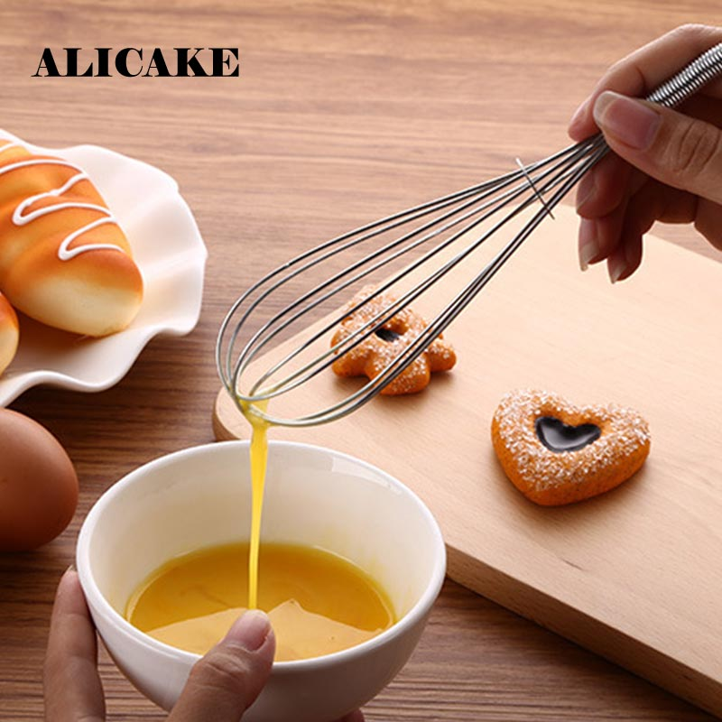 Manual Spring Handle Egg Beater Stainless Steel Mini Whisk Kitchen Tools Cuisine Outils Accessoires