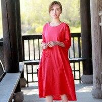 2018 Mùa Hè Mới Mô Hình Bông Suit-dress Gốc Văn Học Sẽ Mã Dễ Dàng Longuette Thêu Lanh Rắn Màu Váy